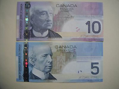 Set of Two  NEW UNC Canadian 2006  $5 and $10 Banknotes