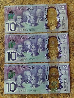 Three Sequential 2017 Canada's 150th Anniversary $10 Banknotes UNC
