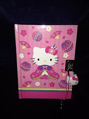 New Sanrio Diary Lock & Key Hello Kitty Kimono Fan 288 Multi Colored Pages LOOK!