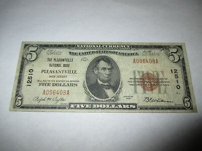 $5 1929 Pleasantville New Jersey NJ National Currency Bank Note Bill #12510 FINE