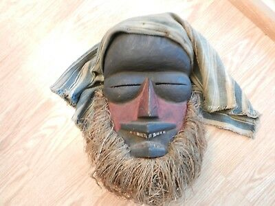 Rare vtg. Dan African tribal ceremonial mask, jute grass beard, metal teeth, clo