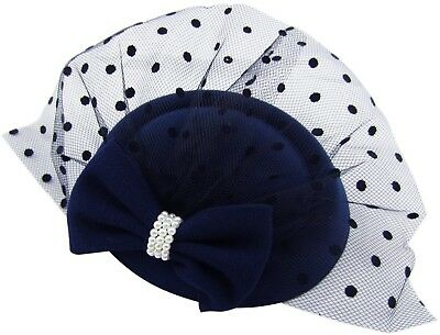 HowYouth Women's Fascinators Hat Pillbox Hat Cocktail Party Hat with Veil for