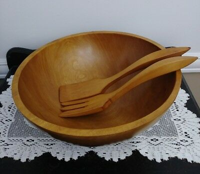 "Vintage Baribocraft Canada Maple 13"" Wood Salad Bowl and Salad Servers"