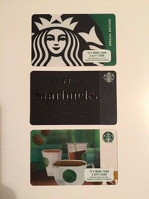 Set of 3 Starbucks Collectible Gift Cards - NEW - Unused - Free US Shipping