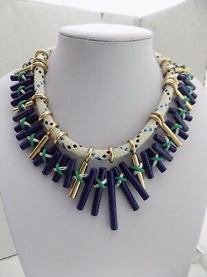 ZARA Signed Navy Blue Enamel on Metal Fabric Cord Statement Necklace-Heavy