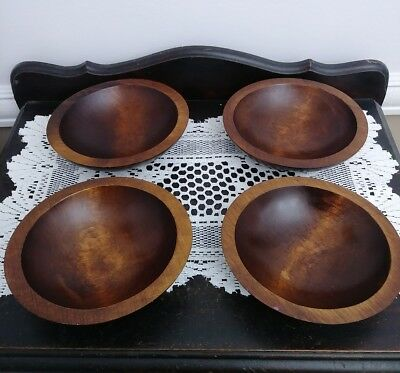 4 Piece Vintage Baribocraft Dark Teak Wood Salad Bowl Set Excellent Condition