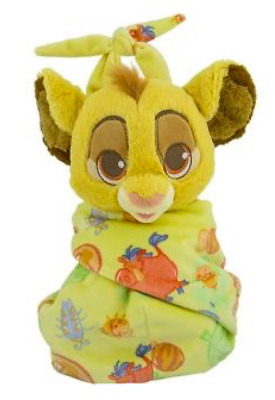 "Disney Parks Baby Simba in a Blanket Pouch Plush New with Tags 10"" Lion King"