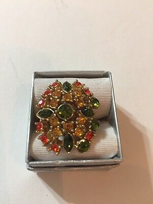 Stunning Vintage Estate Ring Sarah Coventry Signed Rhinestones Adjustable