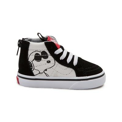 Vans SK8 Hi Zip Peanuts Snoopy Joe Cool Black Toddler Baby Boys Girls Shoes c1395e6b0