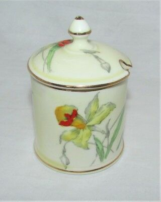 Crown Staffordshire Small Lidded Pot - Hand Painted Floral - Art Deco