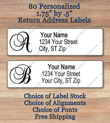 "80 Personalized Elegant Monogram Return Address Labels 1 3/4"" x 1.2""  ~ Script 1"