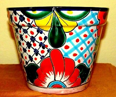 Inverted Blossoming Calla Lilies Talavera Pot Colorful Design Handmade Free Ship