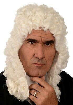 New Colonial Judge Wig; White, Costume Wigs One Size Fits All By Kangaroo mfg