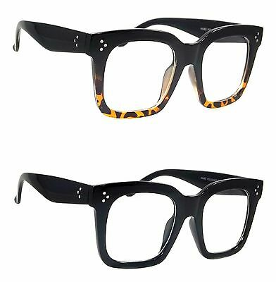 Vintage Clear Lens Glasses Brush Style Oversized Square Fashion Retro Frame