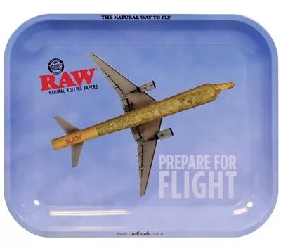 """RAW Metal Rolling Tray Large 13.5"""" X 11"""" Natural Way to Fly - Prepare For Flight"""