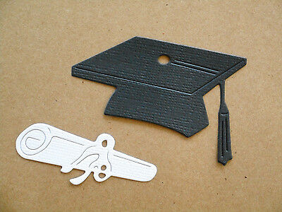 Graduation Hat & Diploma Paper Die Cuts  x 6 Sets Scrapbooking Embellishment