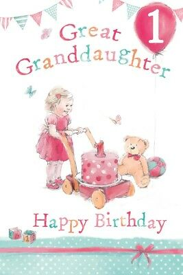 GREAT GRANDDAUGHTER 1st BIRTHDAY CARD AGE 1 QUALITY BEAUTIFUL VERSE