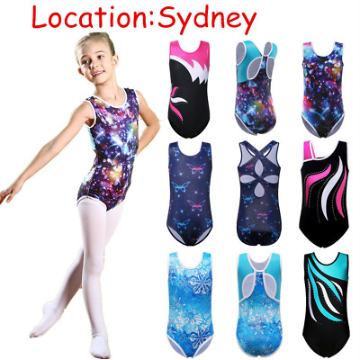 3-12Y Girls Ballet Dance Gymnastics Unitard Dancewear Leotards Sparkle Bodysuit