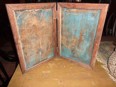 aafa, Early Hinged Counter Sign Board Chalkboard IN BEST OLD BLUE PAINT!!!!