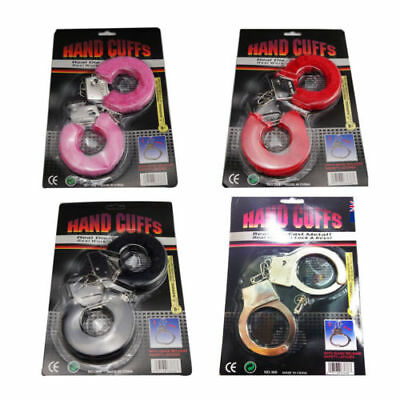 Handcuffs Toy Fluffy Metal Hand Cuffs Red Pink Black Hens Night Police Party kid