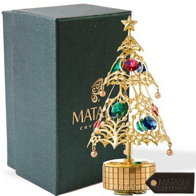 24K Gold Plated Christmas Tree Wind-Up Music Box Table Top Ornament by Matashi