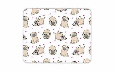Funny Pugs Mouse Mat Pad Dog Love Heart Mum Sister Gift Computer PC Gift #8125