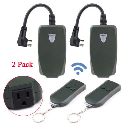2 Pack Durable Light Lamp Remote Control Switch Wireless Plug-in Socket Receiver