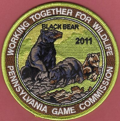 """Pa Pennsylvania Game Fish Commission 2011 4"""" WTFW 2nd Black Bear Wildlife Patch"""