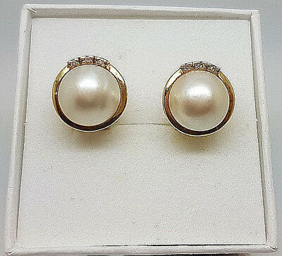 Gorgeous 18ct Gold Diamond and Mabe Pearl Stud Earrings.  Goldmine Jewellers.