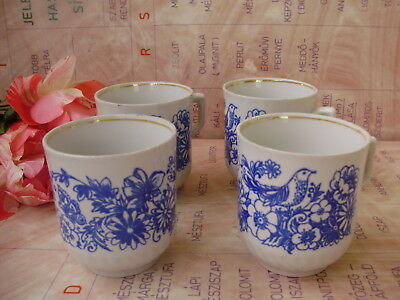 Vintage,USSR Soviet,Russian, porcelain tea mug set,4 pieces,bird and butterfly