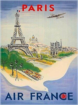 Paris France French Eiffel Tower Vintage Airline Travel Advertisement Poster