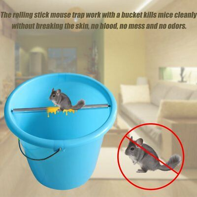 Rolling Mouse Trap Log Roll Into The Bucket Mice Rats Stick Bar Rodent Garden AS