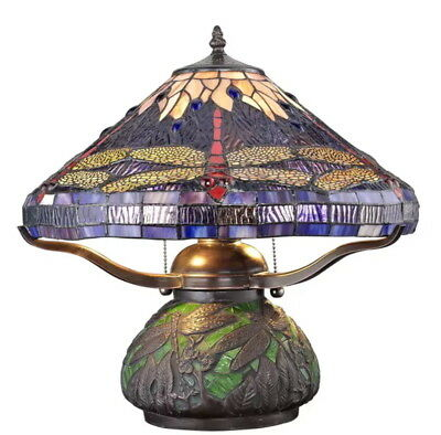 Tiffany Style Dragonfly Lamp Cut Stained Glass Reading Table  Mosaic Base Desk N