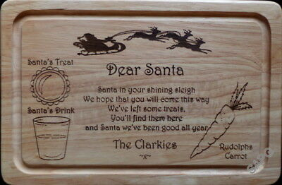 Christmas Eve Santa Father Christmas Treat Plate / Tray / Board Personalised