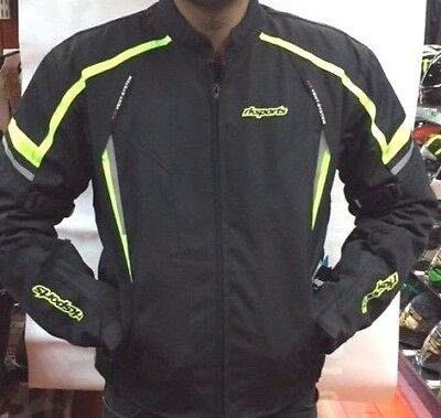 KT Rksports Black yellow TEXTILE MOTORBIKE MOTORCYCLE JACKET