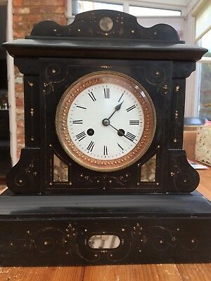 Antique French Black Slate Mantle Clock Gilt work/ Marble, Working