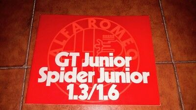 Brochure Depliant Advertisement Alfa Romeo Gt Junior Spider 1.3 1.6 Italian 1972
