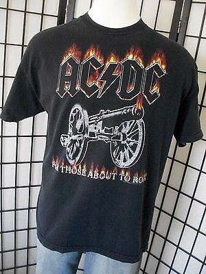 Vintage AC/DC For Those About To Rock black t shirt with flames & cannon xl