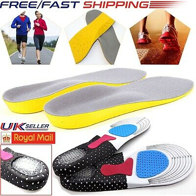 Unisex Orthotic Arch Support Foot Feet Shoe Insoles Shock Absorb Gel Heel Pad UK