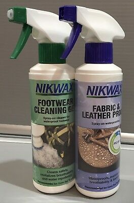 Nikwax Fabric And Leather Proof And Footwear Cleaning Gel 300ml Twin Pack