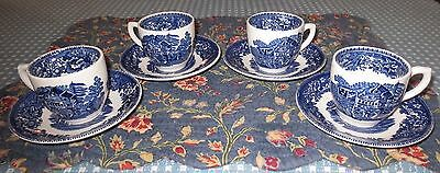 Set of 4 Vintage Wedgwood Avon Cottage Demitasse Cups and Saucers Blue White