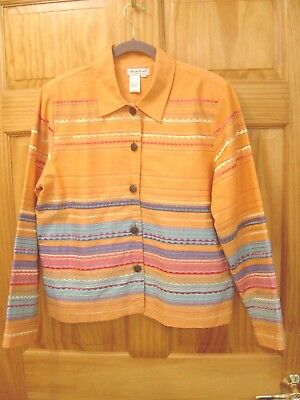 COLDWATER CREEK 100% Cotton Apricot Embroidered Jacket - Women's Size Large