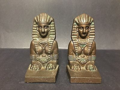 Rare Pair Of Antique Old Sphinx Egyption 1920's Figural Bookends Art Deco Iron