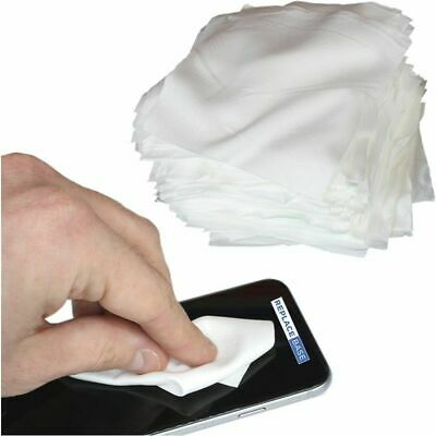 """100 x Mobile Phone Tablet Microfiber Cleaning Cloths 4x4"""" Low Particle Sealed"""