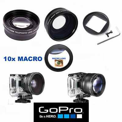 Gopro Hero 6 Ultra Wide Angle Lens+Telephoto Zoom Lens + 10X Macro Lens Adaptor