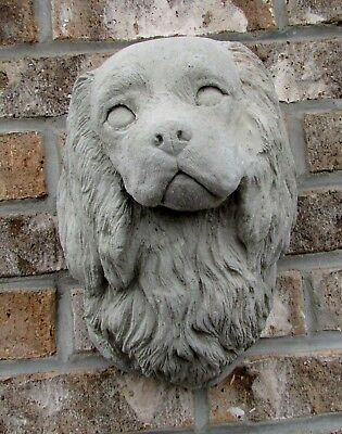 CONCRETE CAVALIER KING CHARLES SPANIEL or COCKER SPANIEL WALL PLAQUE STATUE