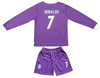 a372d6144bc Real Madrid RONALDO  7 Away Purple Kids Soccer Jersey   Shorts Youth Sizes