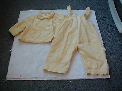 vintage 1960s 1950s toddler girls jacket and overalls pants set yellow corduroy