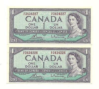 LOT of 2 x 1954 CANADA ONE DOLLAR BANK NOTES (UNC/CON)