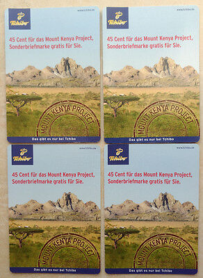 4 Briefmarken Tchibo Portocards Mount Kenya Project, Afrika, komplett, 55Ct+45Ct